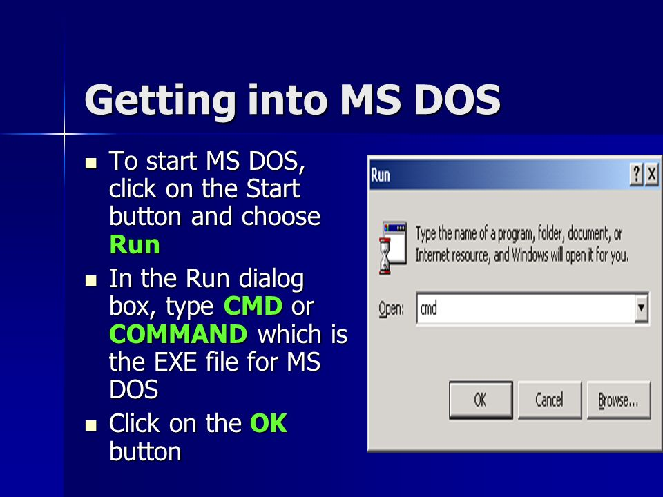 DOS Commands What is a command Types of DOS Commands Basic