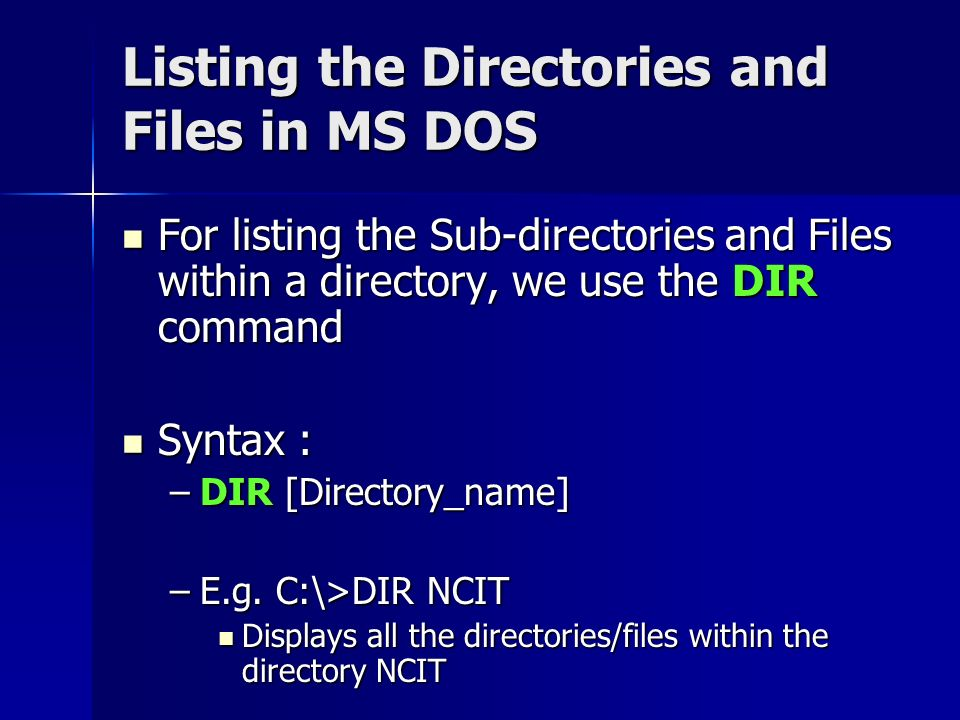 DOS Commands What is a command Types of DOS Commands Basic Terms
