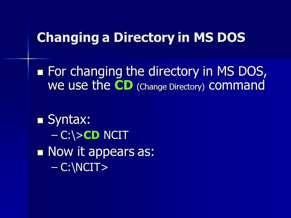 How To Change Folder In Dos Command Command Prompt 11 basic