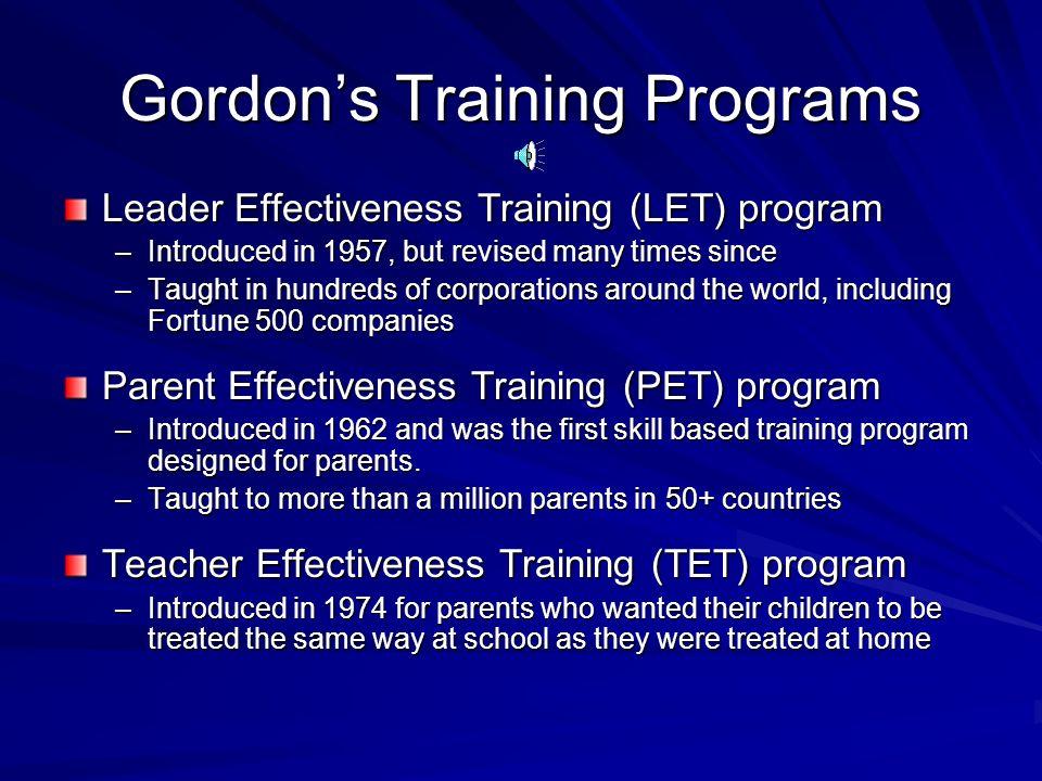 4 Gordons Training Programs