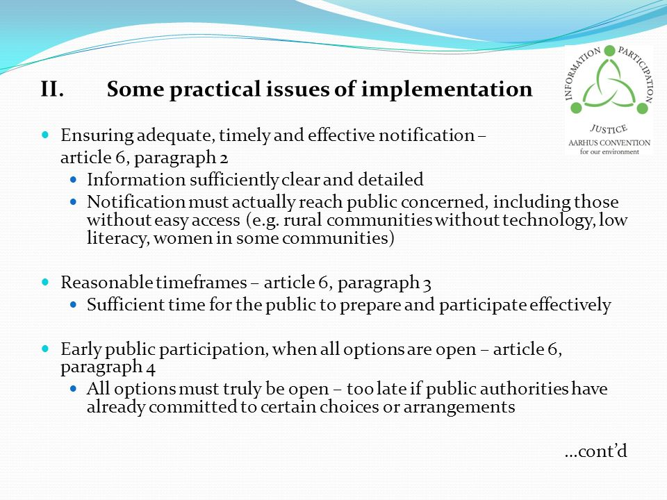II. Some practical issues of implementation