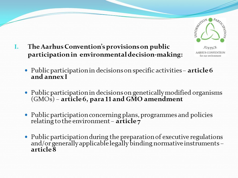 The Aarhus Convention's provisions on public