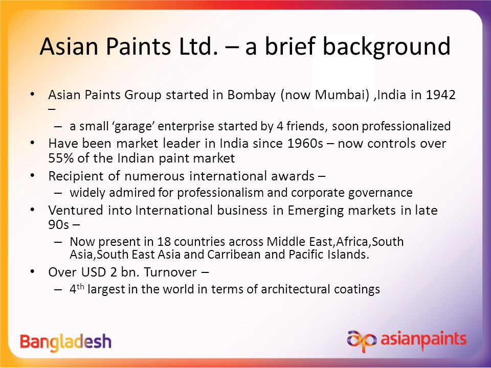 Asian Paints in Bangladesh - ppt video online download