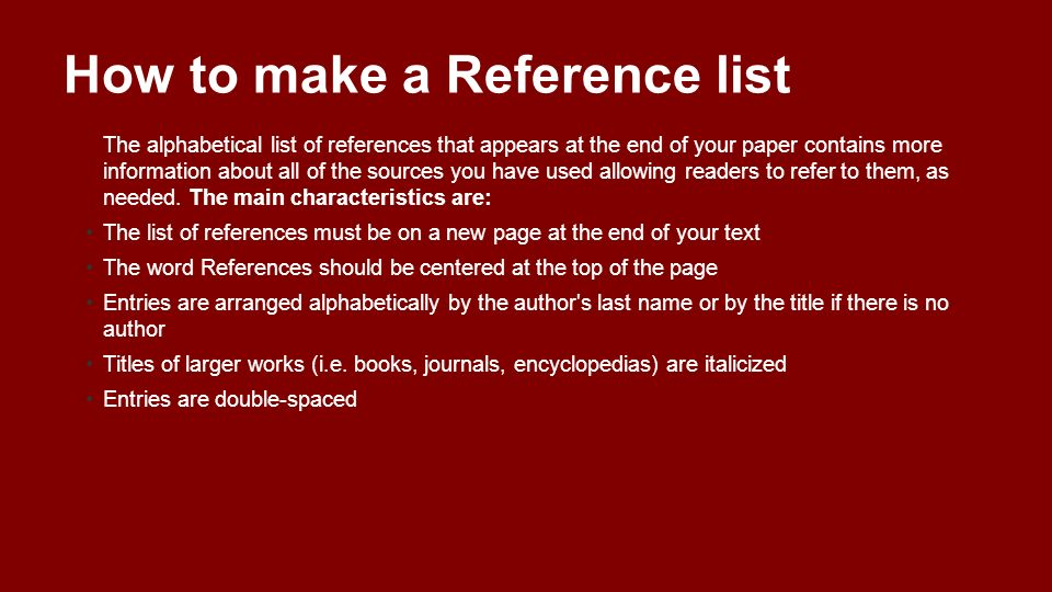 How to make a Reference list