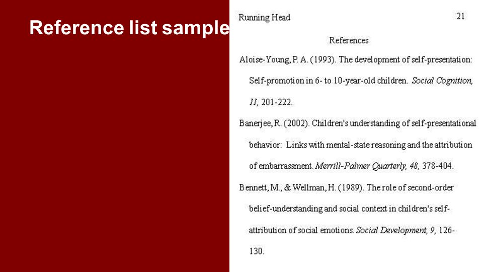 Reference list sample