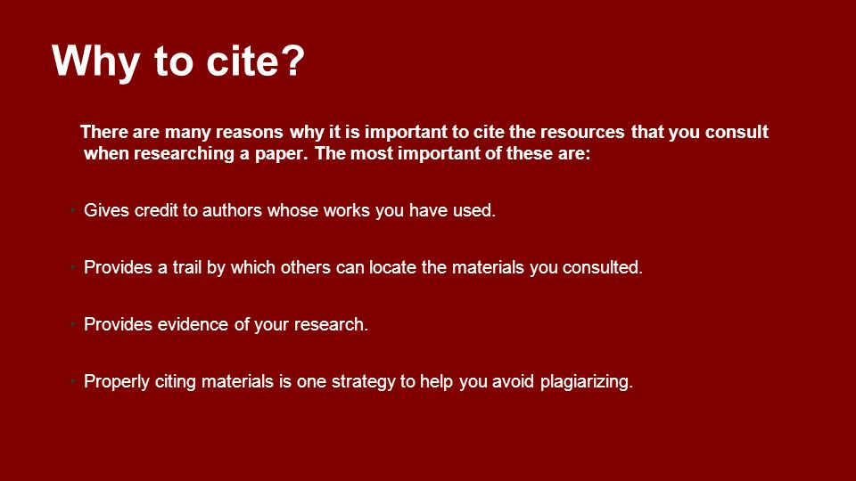 Why to cite