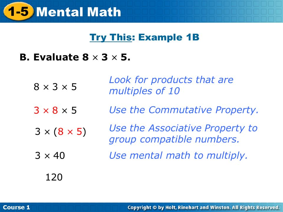 1-5 Mental Math Try This: Example 1B B. Evaluate 8  3  5.