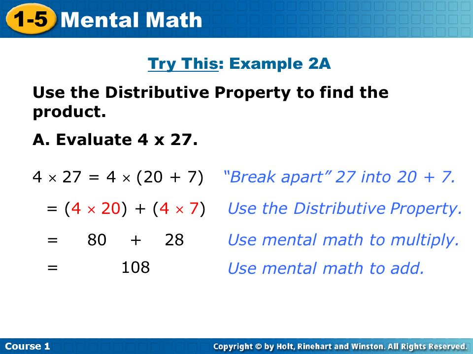 1-5 Mental Math Try This: Example 2A