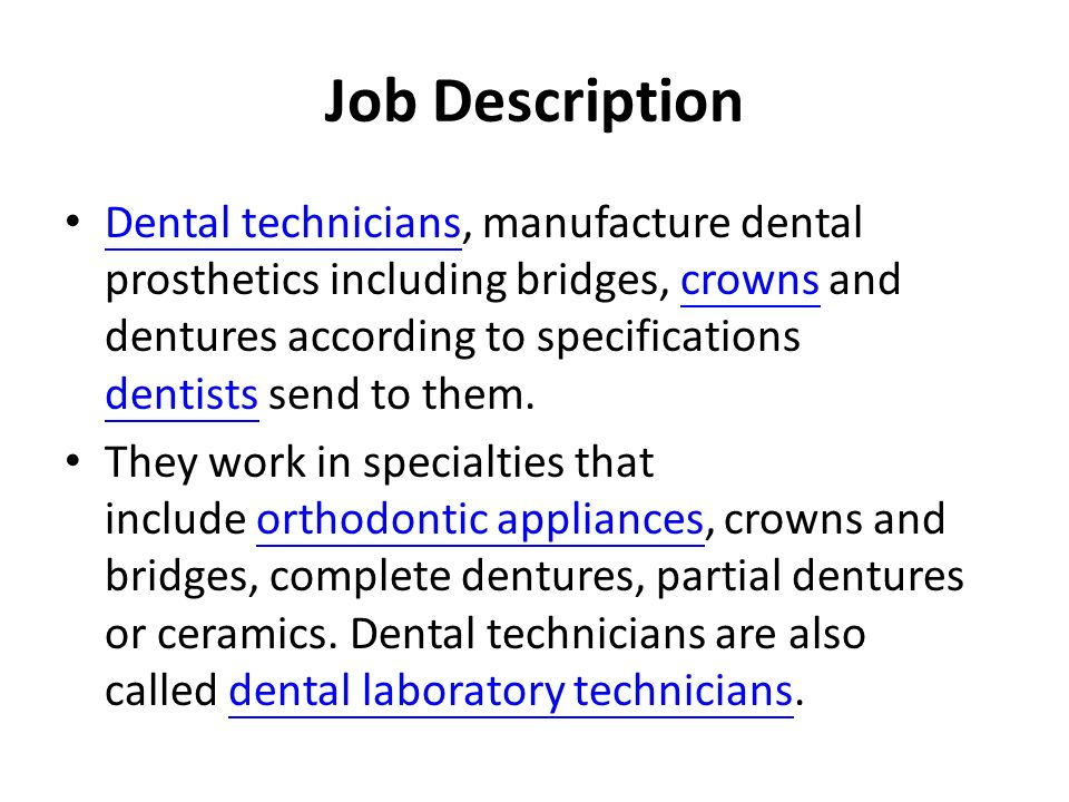 job description of dentist