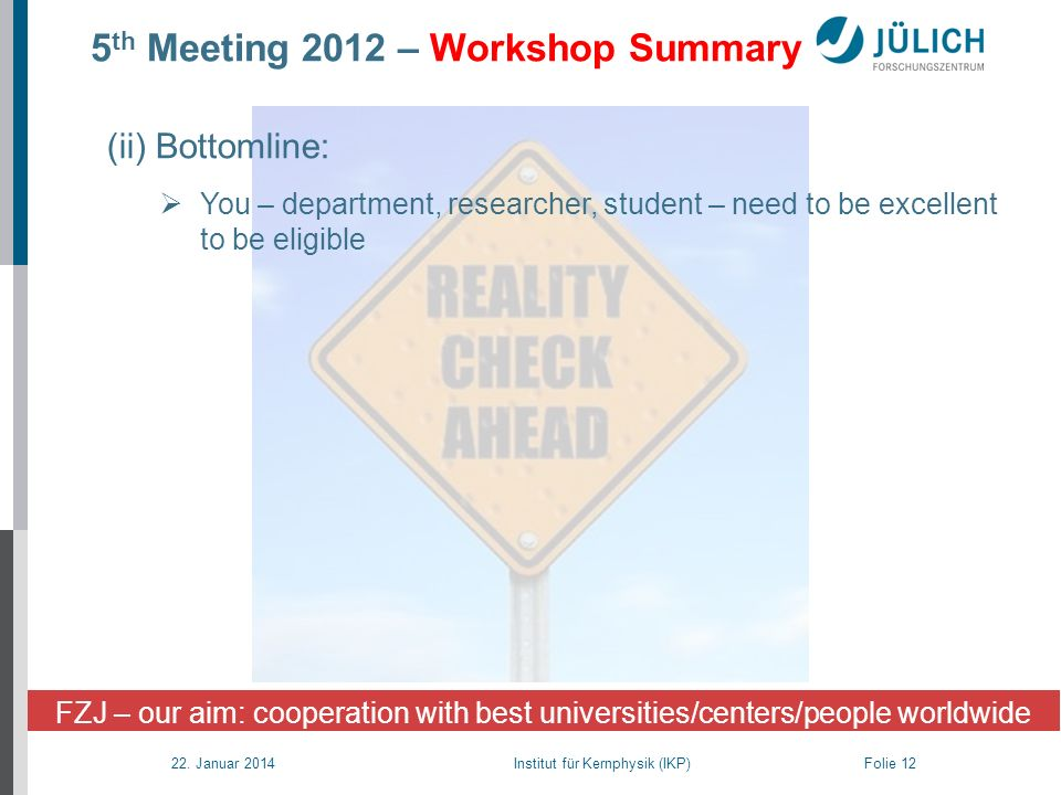 5th Meeting 2012 – Workshop Summary