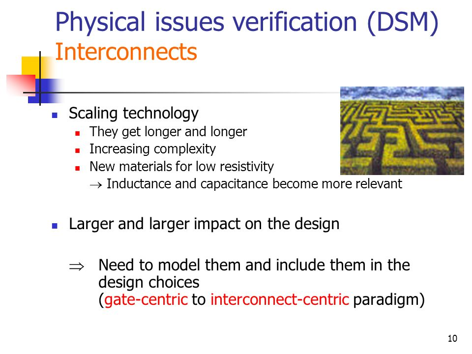 Physical issues verification (DSM) Interconnects
