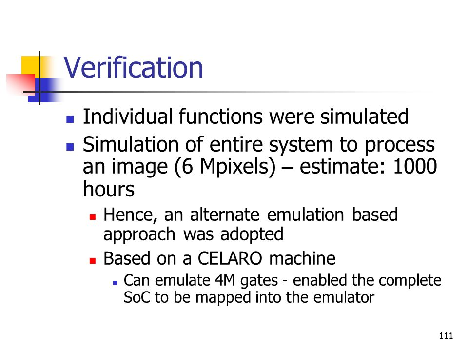 Verification Individual functions were simulated