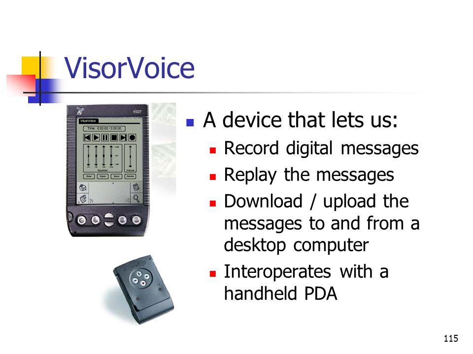 VisorVoice A device that lets us: Record digital messages