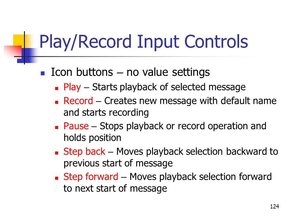 Play/Record Input Controls
