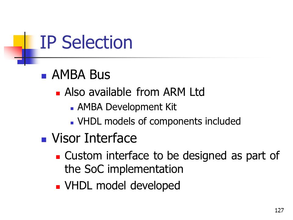 IP Selection AMBA Bus Visor Interface Also available from ARM Ltd