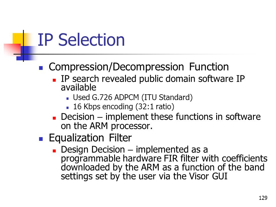 IP Selection Compression/Decompression Function Equalization Filter