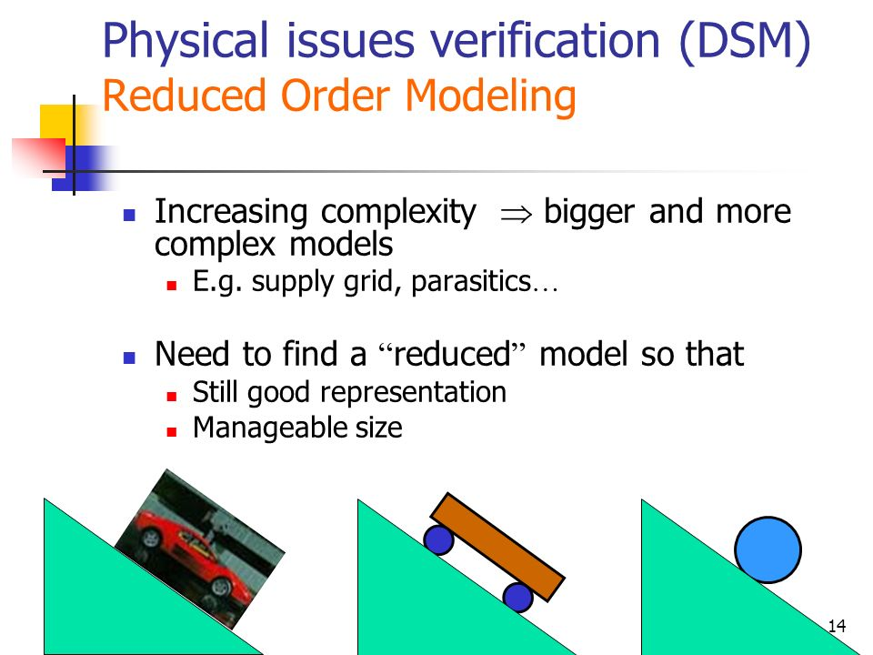 Physical issues verification (DSM) Reduced Order Modeling