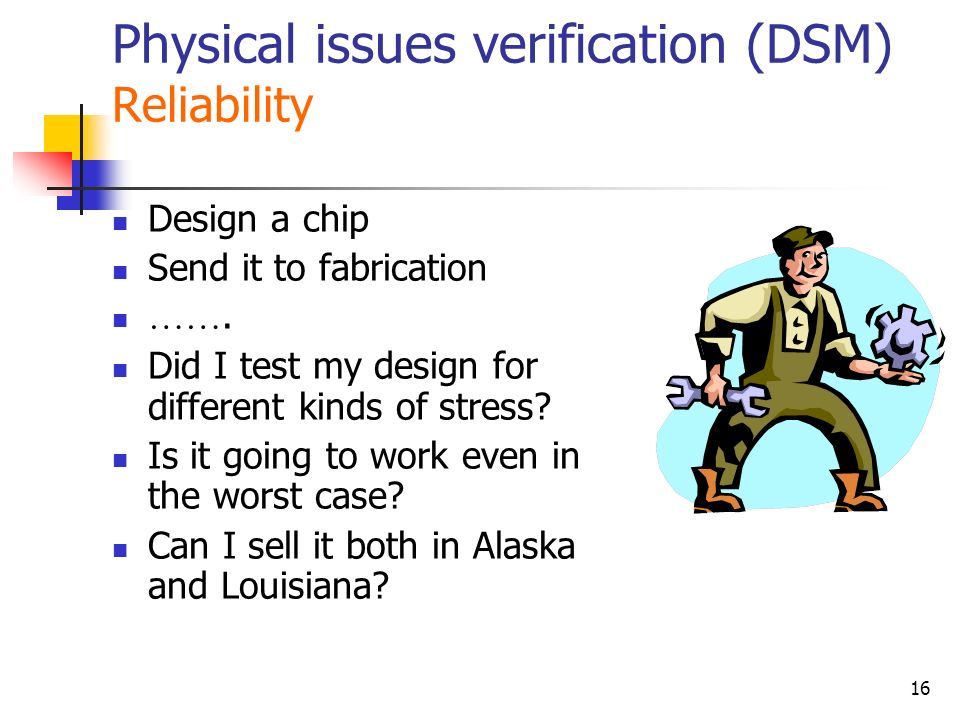 Physical issues verification (DSM) Reliability