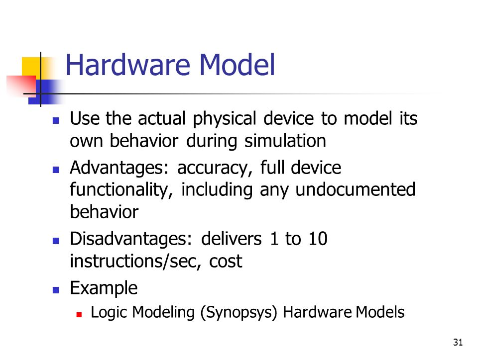 Hardware Model Use the actual physical device to model its own behavior during simulation.