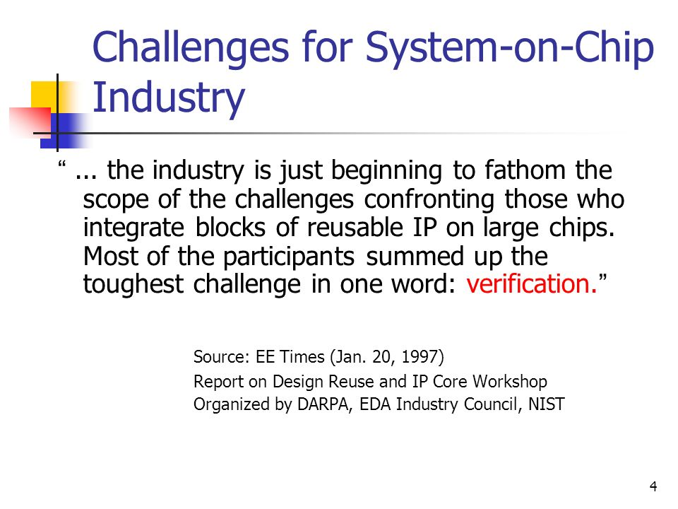 Challenges for System-on-Chip Industry