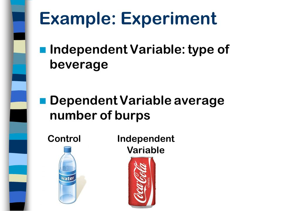 Example: Experiment Independent Variable: type of beverage