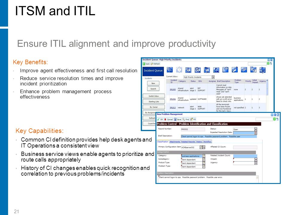 ITSM and ITIL Ensure ITIL alignment and improve productivity