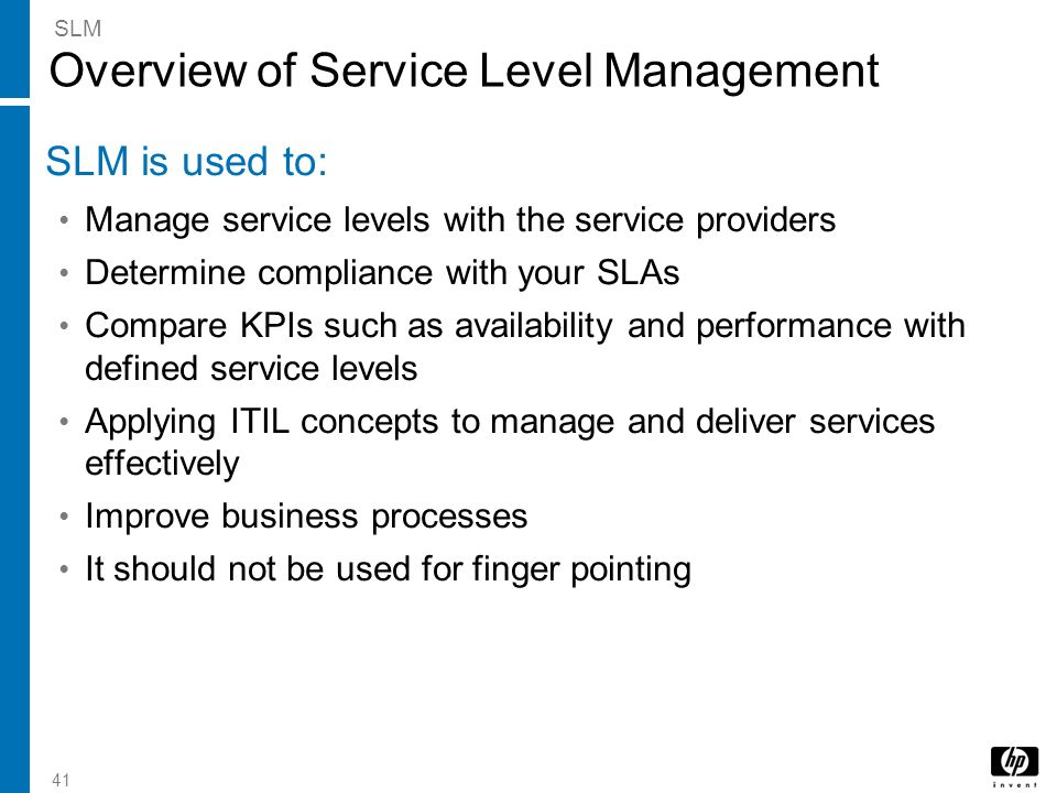 Overview of Service Level Management