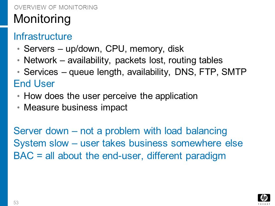 Monitoring Infrastructure End User