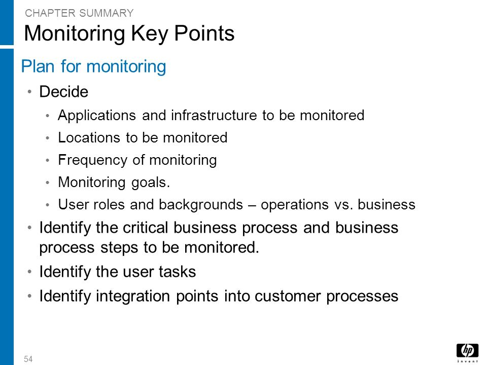 Monitoring Key Points Plan for monitoring Decide