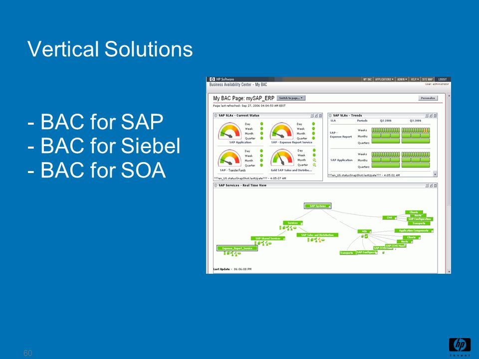 Vertical Solutions - BAC for SAP - BAC for Siebel - BAC for SOA