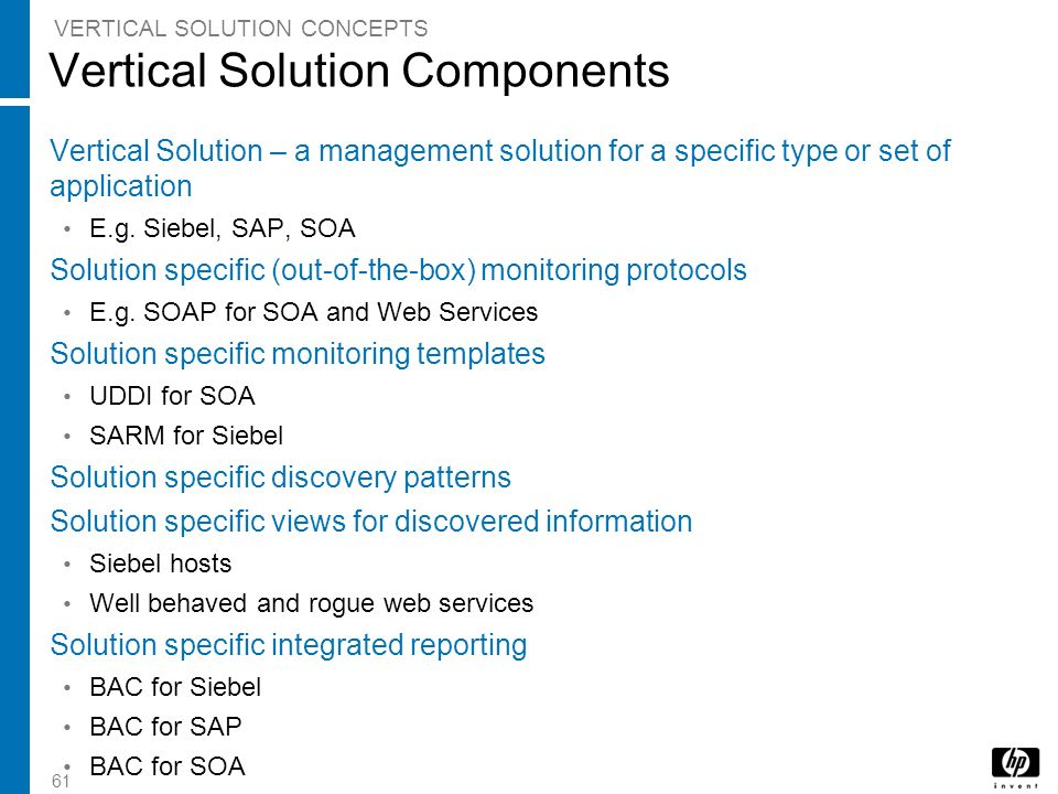 Vertical Solution Components
