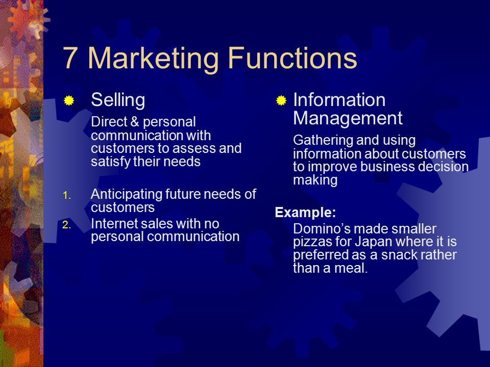 7 Marketing Functions Selling Information Management