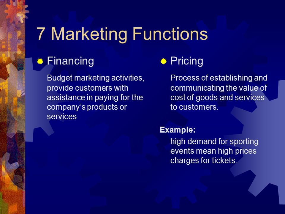 7 Marketing Functions Financing
