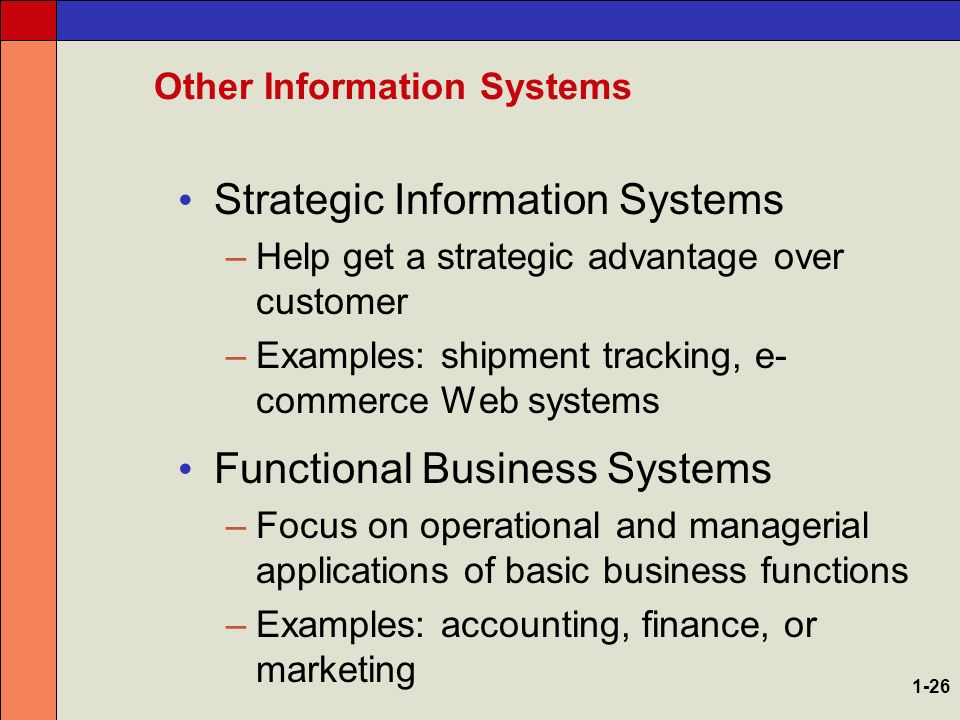 Strategic information systems i. Types of information systems ii.
