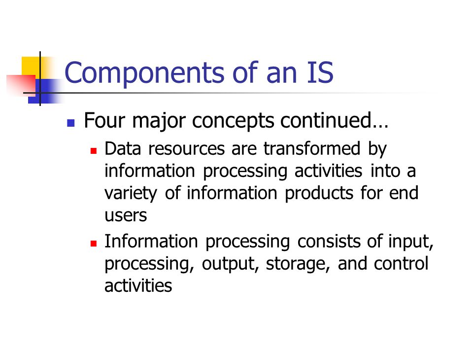 Components of an IS Four major concepts continued…