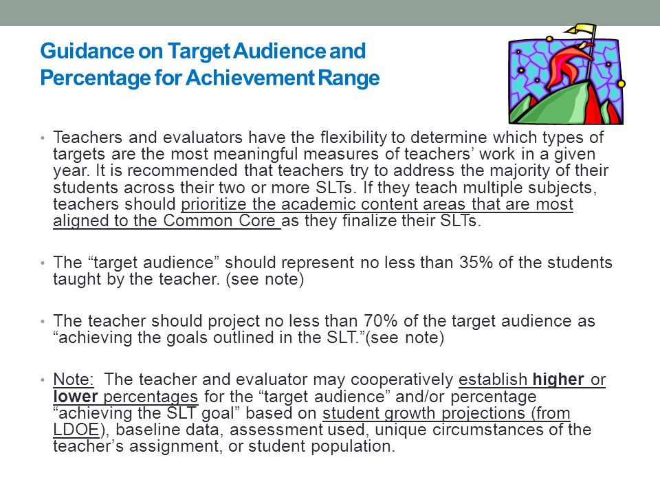 Guidance on Target Audience and Percentage for Achievement Range