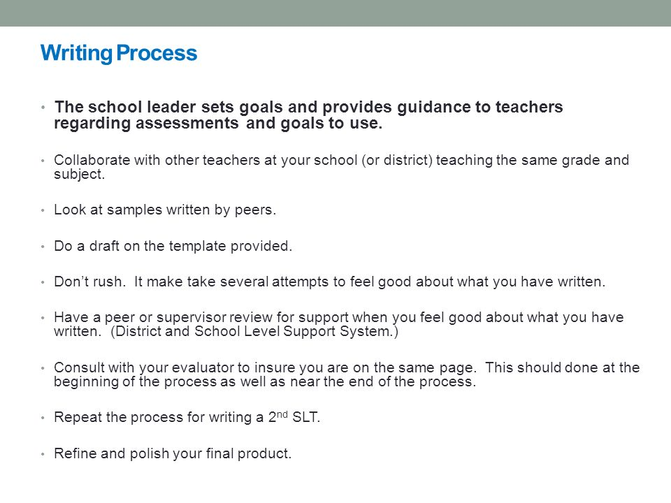 Writing Process The school leader sets goals and provides guidance to teachers regarding assessments and goals to use.