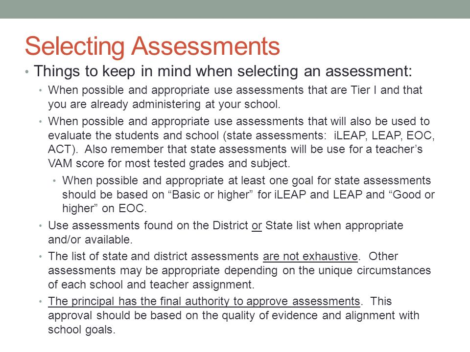 Selecting Assessments
