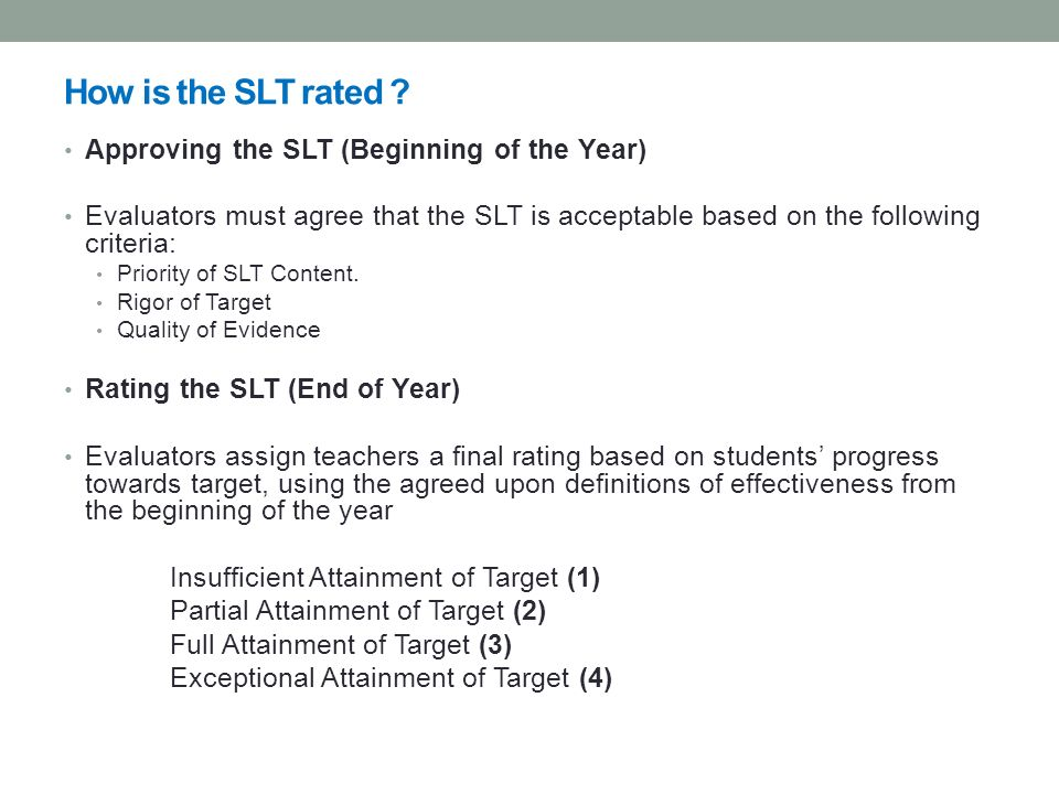 How is the SLT rated Approving the SLT (Beginning of the Year)