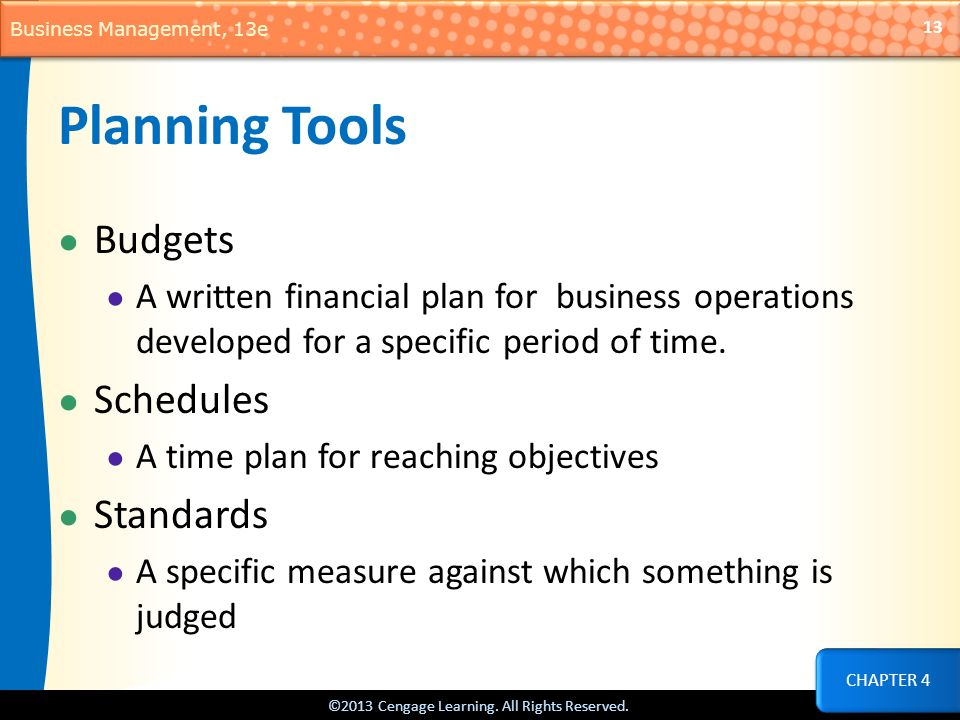 Planning Tools Budgets Schedules Standards
