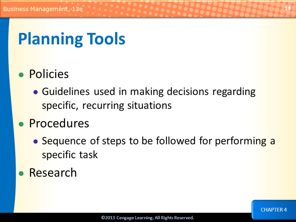 Planning Tools Policies Procedures Research