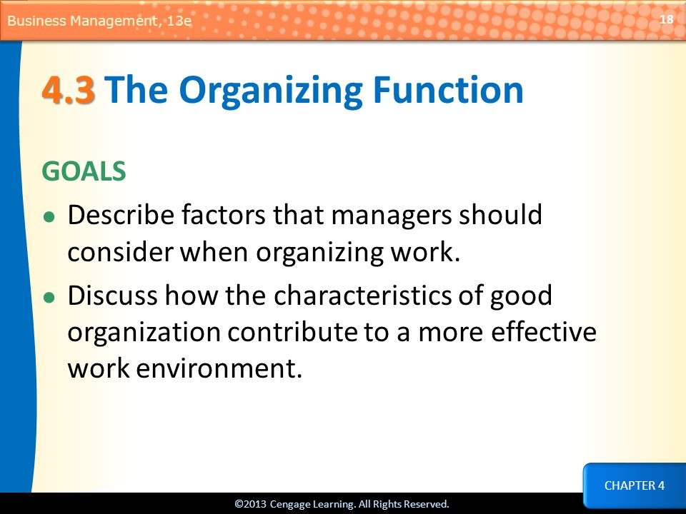 4.3 The Organizing Function