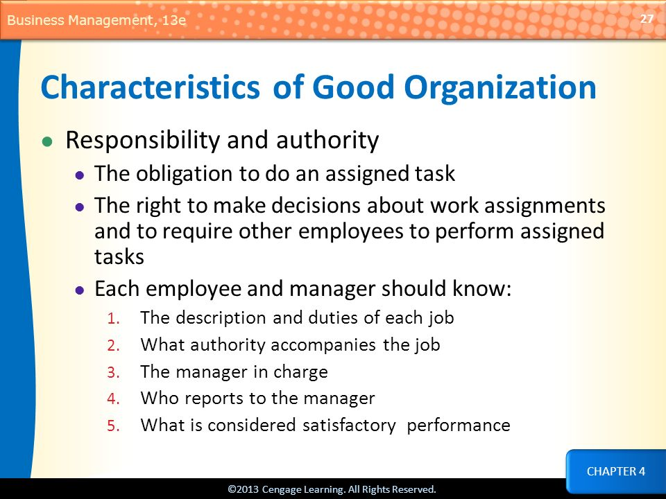 Characteristics of Good Organization