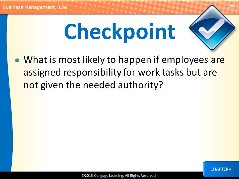 Checkpoint What is most likely to happen if employees are assigned responsibility for work tasks but are not given the needed authority