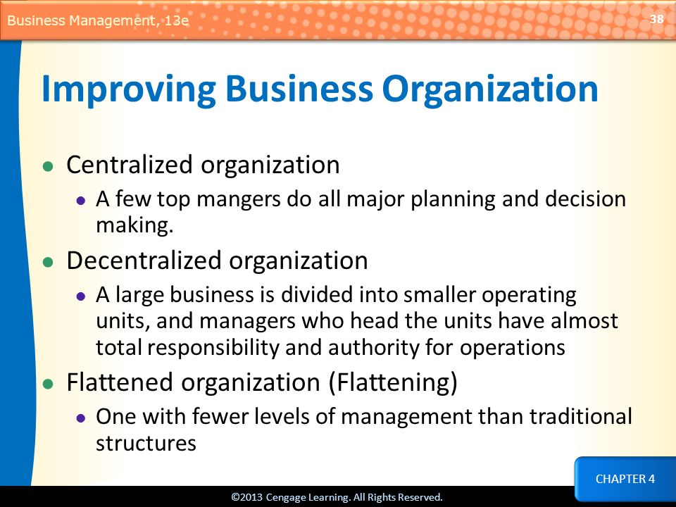 Improving Business Organization