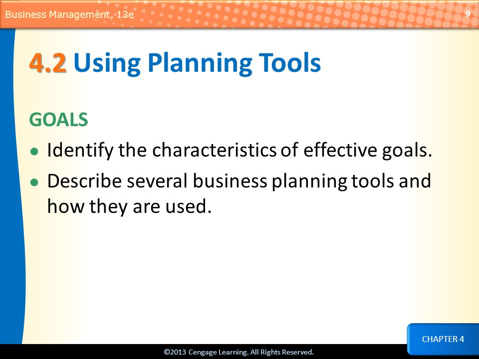 4.2 Using Planning Tools GOALS