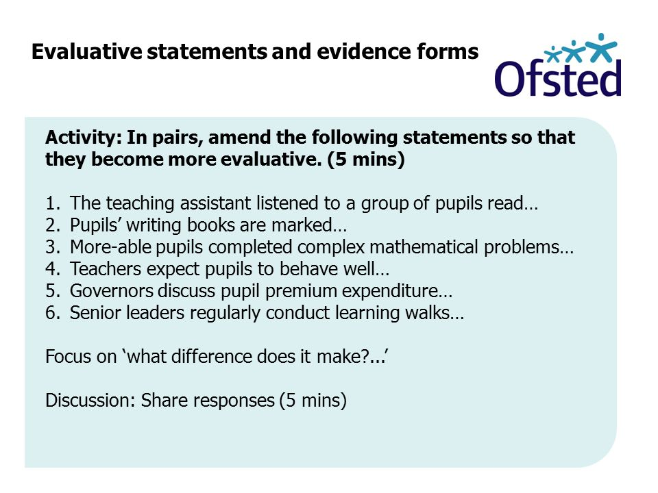 Evaluative statements and evidence forms