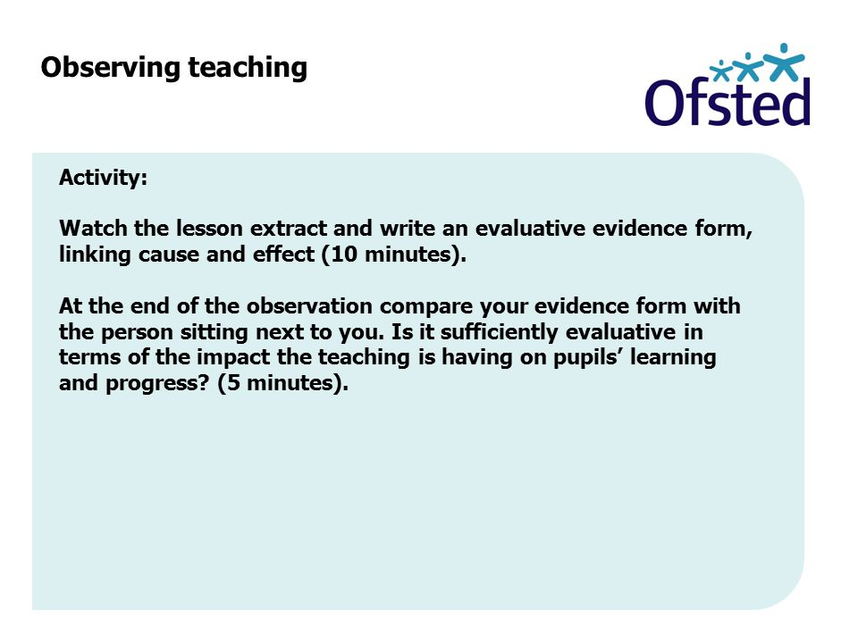 Observing teaching Activity:
