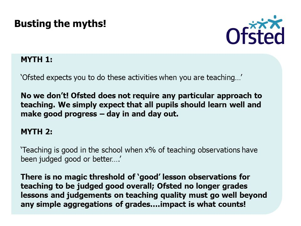 Busting the myths! MYTH 1: