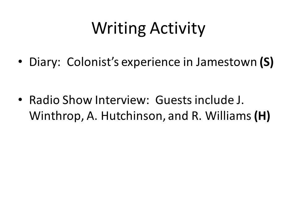 Writing Activity Diary: Colonist's experience in Jamestown (S)